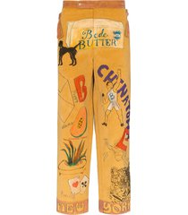 bode drawing-print corduroy trousers - brown