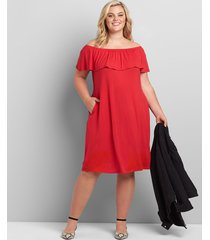 lane bryant women's multi-way off-the-shoulder swing dress 26/28 venetian red