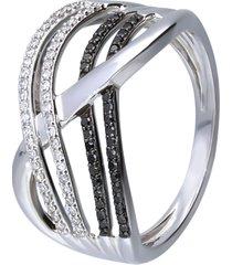 anello in oro bianco con diamanti bianchi e neri 0,115 ct per donna