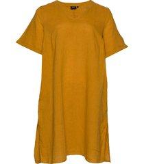 dress short sleeves plus v neck knälång klänning gul zizzi
