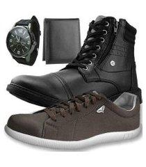 kit bota dhl casual masculino + sapatênis + relógio + carteira slim
