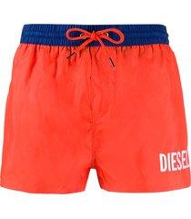 diesel logo print swim shorts - orange