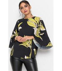 blouse met plissé mouwen