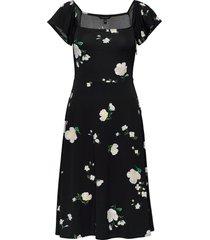 print square-neck midi dress knälång klänning svart banana republic