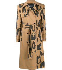 just cavalli leopard-print belted trench coat - neutrals