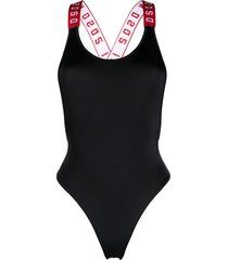 dsquared2 logo-strap scoop-neck swimsuit - black