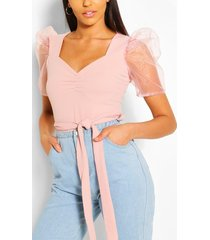 organza sleeve sweetheart belted top, blush