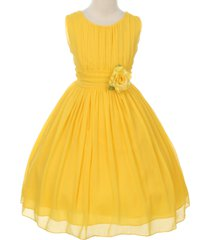 yellow round neck yoryu chiffon flower girl dresses birthday bridesmaid wedding
