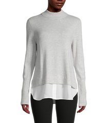 saks fifth avenue women's ribbed twofer sweater - grey mist - size xl