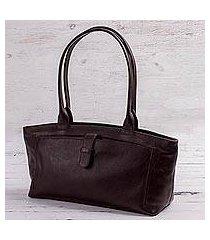 leather baguette handbag, 'espresso style' (peru)