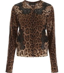 dolce & gabbana animalier cardigan with lace