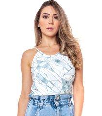 blusa de alã§a fina vã©rtice blusa regata de alã§a fina estampa geomã©trica azul - azul - feminino - dafiti