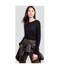 blusa de malha cropped decote redondo e manga longa preto