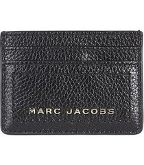 marc jacobs women's logo leather card case - smoked almond