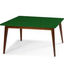 mesa de madeira retangular 140x90 cm novita 609 cacau/verde musgo - maxima