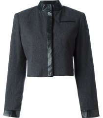 stephen sprouse pre-owned trimmed crop jacket - grey