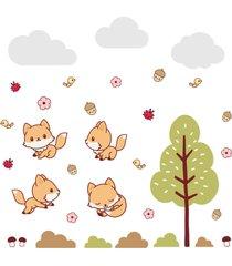 adesivo de parede  raposinha na floresta infantil - marrom - dafiti