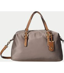 tommy hilfiger women's solid zipper satchel khaki -
