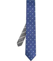 canali jacquard reversible silk tie - blue