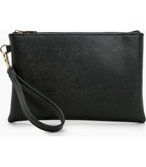 cross hatch zip top clutch bag, black