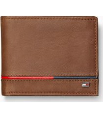 tommy hilfiger men's leather stripe id wallet brown/corp piping -