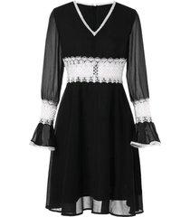 contrast lace panel chiffon flare dress