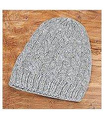 wool knit hat, 'kashmir khaki' (india)