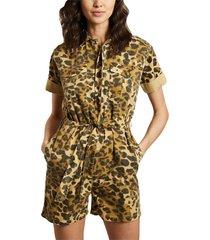 orane félin leopard print organic cotton shorts jumpsuit