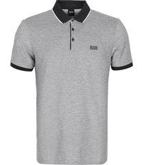 hugo boss embroidered logo oxford cotton polo shirt