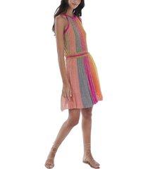 allison new york women's metallic panelled dress