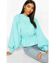tall extreme balloon sleeve sweat top, turquoise