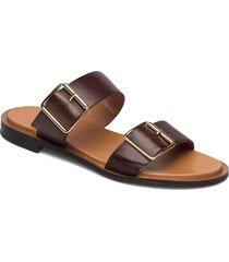 biadarla buckle sandal shoes summer shoes flat sandals brun bianco