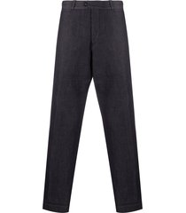 pt01 high-rise wide-leg chambray trousers - blue