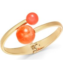alfani gold-tone bead-tipped bypass bangle bracelet, created for macy's