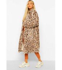tall lange faux fur luipaardprint jas, brown