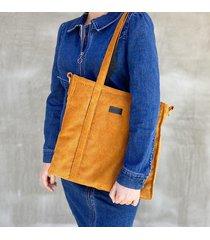 sztruksowa torba shopper musztarda