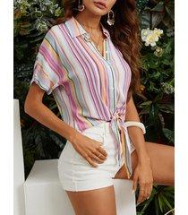 yoins nudo de botón delantero con cuello de solapa a rayas múltiples diseño blusa