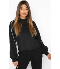 piping detail sweatshirt, black