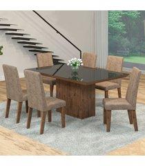 mesa de jantar 6 lugares manu venus dover/malta/preto - viero móveis