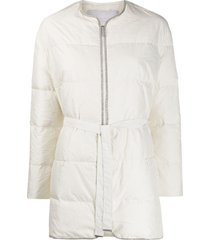 fabiana filippi belted padded coat - white