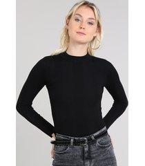 blusa feminina básica em tricô manga longa preta