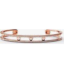 mk bracciale a fascia di supporto in argento sterling con placcatura in metallo prezioso e pavé - oro rosa (oro rosa) - michael kors