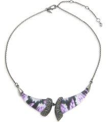 alexis bittar women's black rhodium-plated silvertone, lucite & crystal floral bib necklace