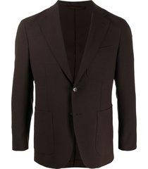 caruso fine knit multi-pocket blazer - brown