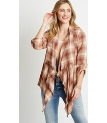 maurices womens plaid open front frayed kimono brown