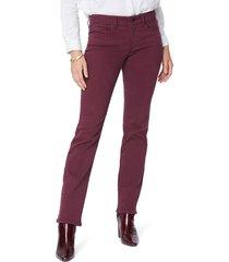 petite women's nydj marilyn straight leg stretch jeans, size 0p - red