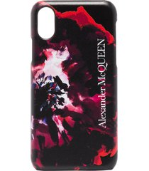 alexander mcqueen rose-print iphone xs css leather case - black