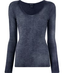 avant toi fine knit long sleeve top - blue