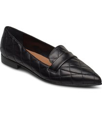 alexandra black quilted leather loafers låga skor svart flattered