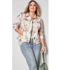blommig jeansjacka janet & joyce offwhite::jade::aprikos